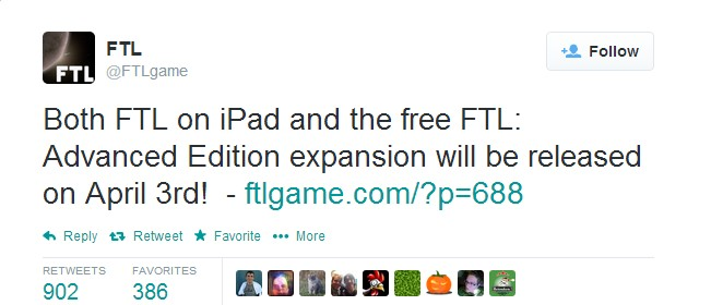 FTL: Advanced Edition, Available April 3rd