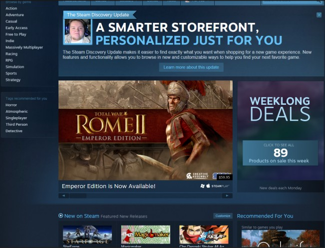 Steam Recieves 'Discovery' Update, Drastically Overhauls User Accessibility